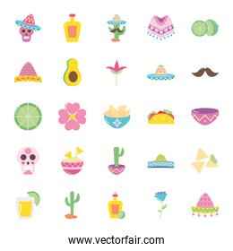 avocado and mexican culture icon set, flat style
