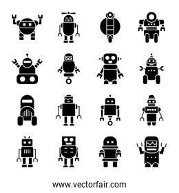 robots with wheels and robotics icon set, silhouette style