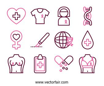 icon set of breast cancer and female gender symbol, half line half color style