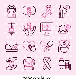 hearts and breast cancer icon set, half color half line style