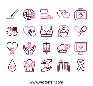 hands and breast cancer icon set, half color half line style