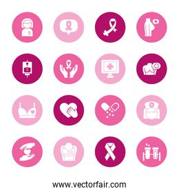 hearts and breast cancer icon set, block style
