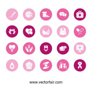 hands and breast cancer icon set, block style
