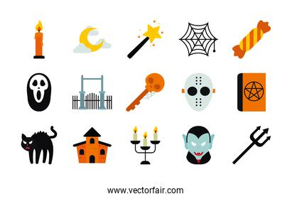 icon set of halloween and cartoon vampire, flat style