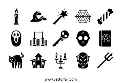 icon set of halloween and cartoon vampire, silhouette style