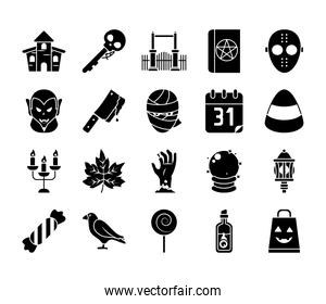 icon set of raven and halloween, silhouette style