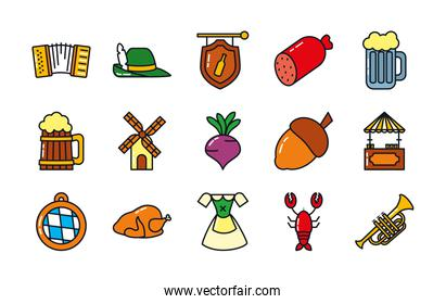 icon set of oktoberfest and trumpet, line and fill style