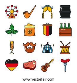 icon set of german flag and oktoberfest, line and fill style