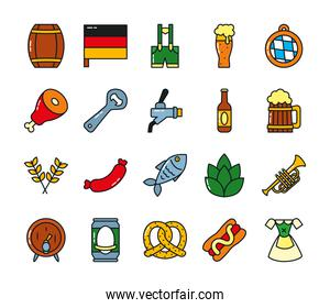 beer glass and oktoberfest icon set, flat style