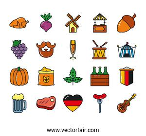 icon set of oktoberfest and beer mug, line and fill style