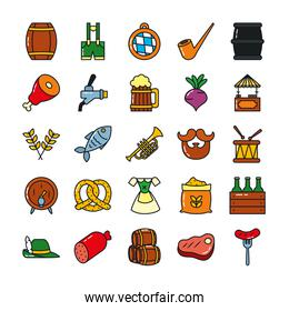 icon set of beer barrels and oktoberfest, line and fill style