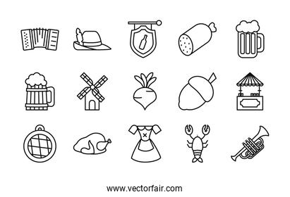icon set of oktoberfest and trumpet, line style