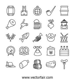 icon set of beer barrels and oktoberfest, line style