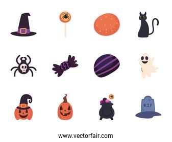 halloween free form style set icons vector design
