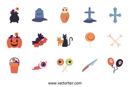 halloween free form style set of icons vector design