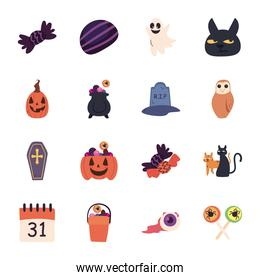 halloween free form style icons collection vector design