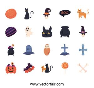 halloween free form style icons bundle vector design