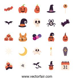halloween free form style icons group vector design