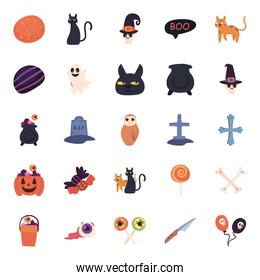 halloween free form style symbols set vector design