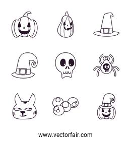 halloween free form line style icon set vector design
