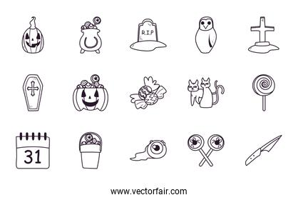halloween free form line style set of icons vector design