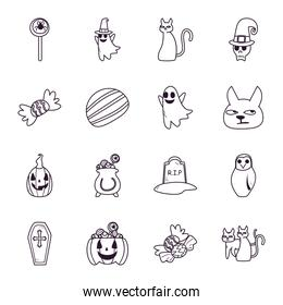 halloween free form line style icons collection vector design