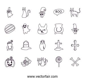 halloween free form line style icons bundle vector design