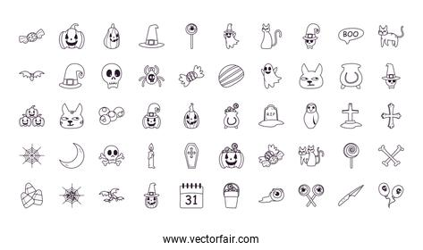 halloween free form line style 50 icon set vector design