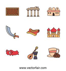 Turkish line and fill style icon set vector design