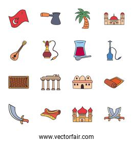 Turkish line and fill style collection of icons vector design