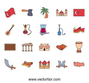 Turkish line and fill style bundle of icons vector design