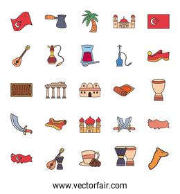 Turkish line and fill style icons group vector design