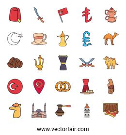 Turkish line and fill style group of icons vector design