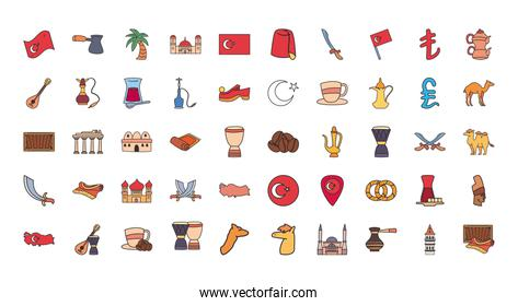 Turkish line and fill style 50 icon set vector design