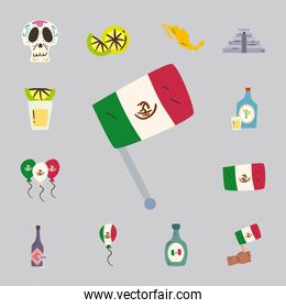 mexican flag and free form style icon set vector design