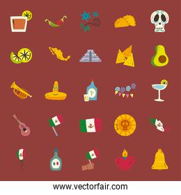 mexican free form style icon set vector design