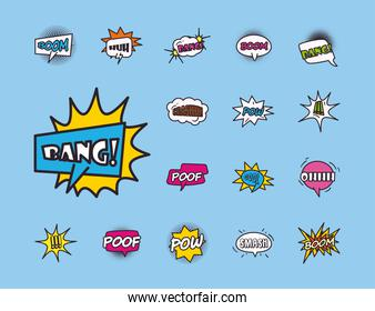 pop art bubbles line and fill style collection of icons vector design