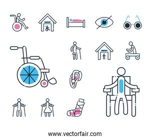 Handicapped line and fill style set icons vector design