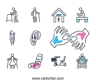 Handicapped line and fill style set of icons vector design