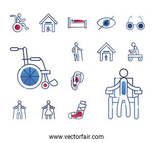 Handicapped gradient style set icons vector design