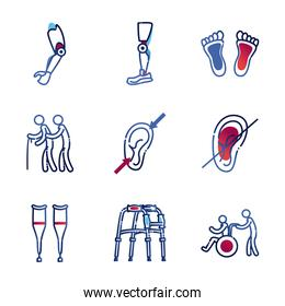 Handicapped gradient style collection of icons vector design