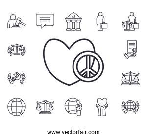 Human rights line style collection of icons vector design