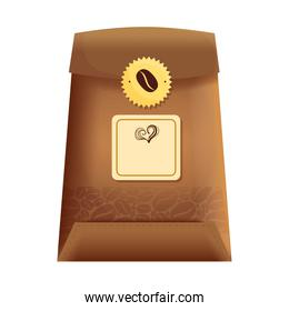 branding mockup coffee shop, bag paper of coffee with seal stamp