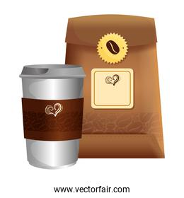 branding mockup coffee shop, disposable and bag paper of coffee