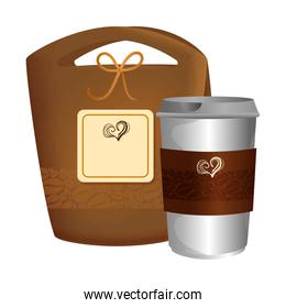 branding mockup coffee shop, bag paper and disposable of coffee