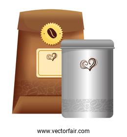 branding mockup coffee shop, bag paper with seal stamp and bottle of coffee