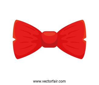 Isolated male bow tie of red color
