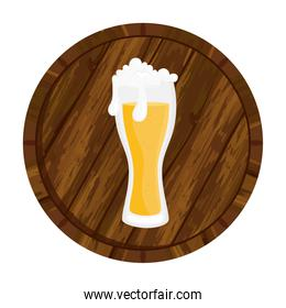 Isolated beer glass on barrel vector design
