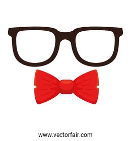Isolated glasses and bowtie vector design