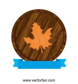 beer barrel with autumn leaf and ribbon vector design